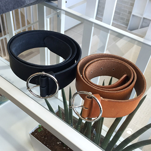 Simple Circle Leather Belt (2color)